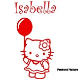 Hello Kitty, flowers, balloon with your Chosen name 60 cm x 40 cm Colour Red Personalised name, Any name, Childs Bedroom, Children Room Stickers, Car vinyl, Windows and Wall Sticker, Wall Windows Art, Decals, Ornament Vinyl Sticker ThatVinylPlace