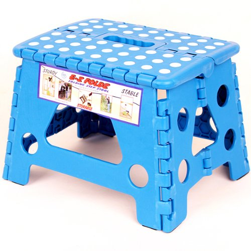 Blue Ez Foldz Step Stool / Bench, 9'' High -Affordable