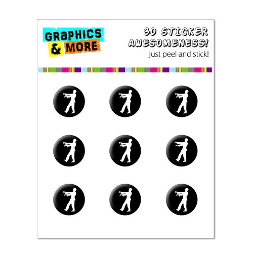 Graphics and More Zombie Walking Home Button Stickers Fits Apple iPhone 4/4S/5/5C/5S, iPad, iPod Touch - Non-Retail Packaging - Clear