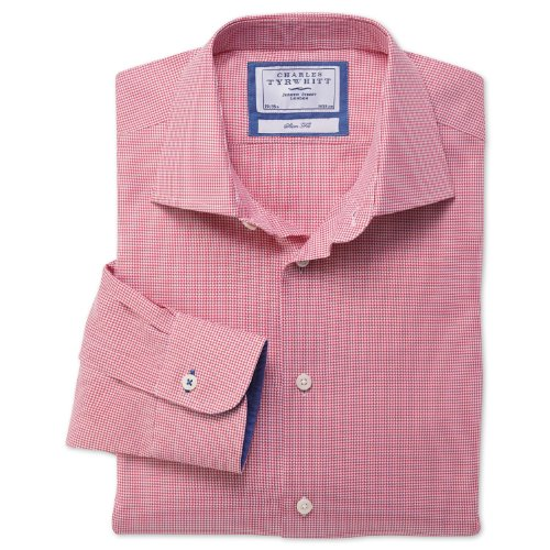 Charles Tyrwhitt Pink puppytooth business casual slim fit shirt (16.5 - 36)