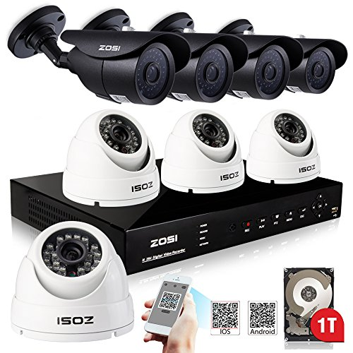 ZOSI RealTime 8 Channel DVR with 900TVL Had IR Cut High Definition Camera 1000GB HDD-Remote Access via Internet & SmartPhone