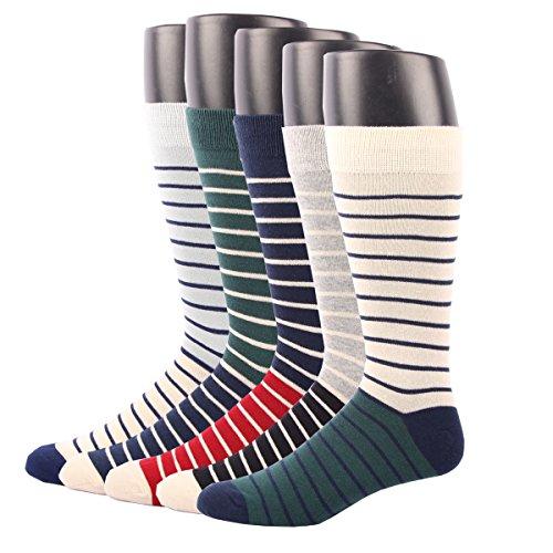 RioRiva Men Formal Dress Trouser Socks Mid Calf 100% Cotton Striped pattern Box Pattern (US Men Size 8-14/EU 42-49, BSK03X-Pack of 5) Retro Cheer Shorts