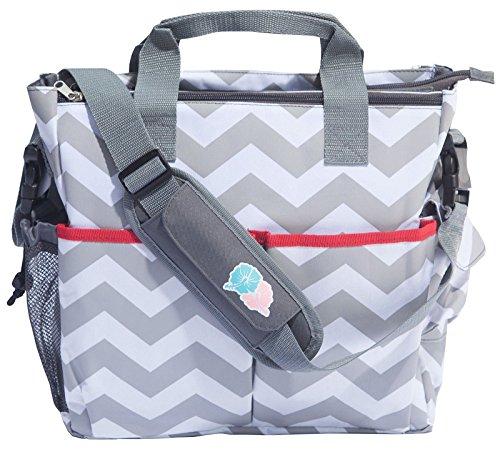 Bula Baby - Stylish Chevron Diaper Tote Organizer Bag - With 12 Pockets to Ke...