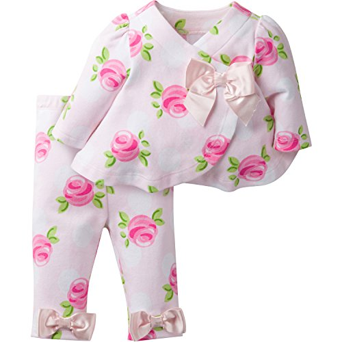 David Tutera Apparel Girls' Assymetrical Jacket and Legging Set, Rose, 3-6 Months