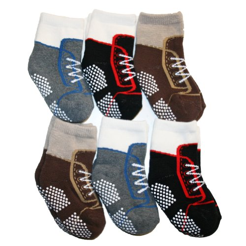 Angelina 6 Pairs French Terry Cotton Non-Skid Baby Sneaker Socks #361S_0-12 front-1046221