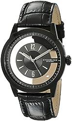 Stuhrling Original Men's 946.03 Winchester Quartz Transparent-Dial Black Genuine Leather Strap Watch
