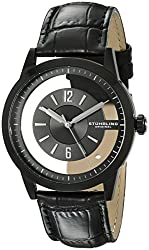 Stuhrling Original Men's 946.03 Winchester Stainless Steel Transparent-Dial Watch with Black Leather Band
