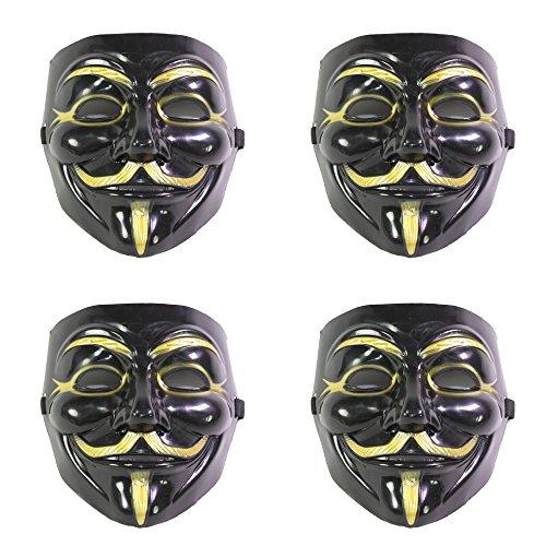 [Set of 4 Black V for Vendetta Guy Fawkes Anonymous Costume Cosplay Masks] (V Costume For Sale)
