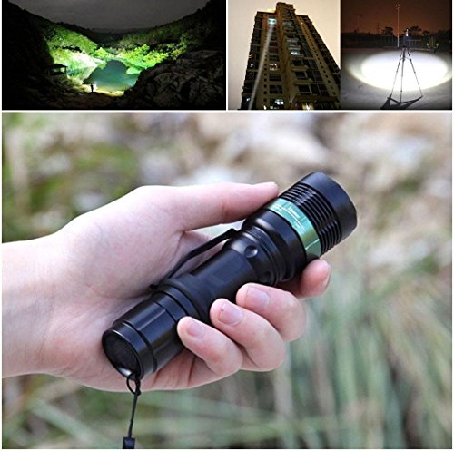 1 Set Optimum Popular 3 Modes LED Flashlight 3000 Lumen Skid Proof Design High Power Convex Lens Torch Body Color Black