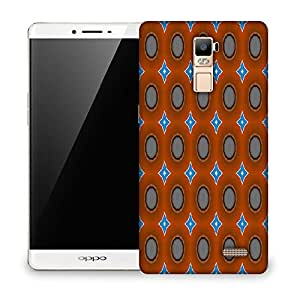 Snoogg Blue Stars Brown Pattern Designer Protective Phone Back Case Cover For OPPO FIND 7