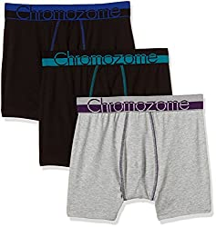 Chromozome Men's Cotton Boxer (Pack of 3) (8902733350181_WS 03_Large_Grey, Black with Aquatonice and Black with world Blue)