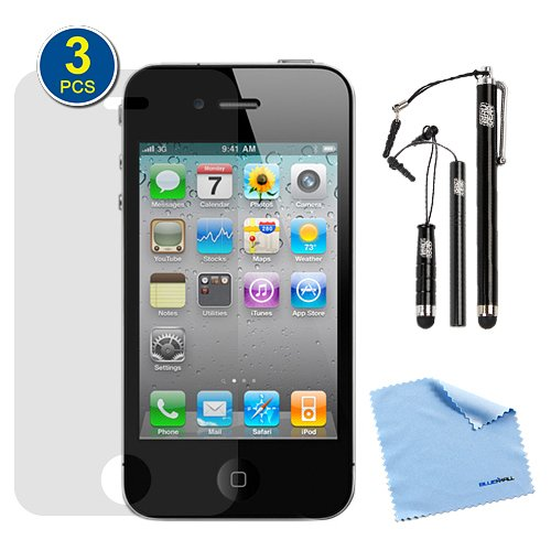 Birugear 3-Pack Premium Hd Guard Film Clear Lcd Screen Protectors Plus 3Pcs Black Stylus For Apple Iphone 4S, Iphone 4, 4G, 4Th Generation With *Microfiber Cloth*