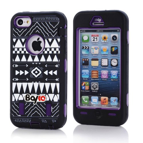 Apple Iphone 5c Fashion Camo Zebra Combo Print & Aztec Tribal Print Hybrid Armorbox Defender Case Protection Impact Bumper Dual Layer Heavy Duty Case Pc&rubber Silicone Material with Hard Holster (Not Fit Iphone 5 & 5s / Bayke Brand / Screen Protector Not Include) (Purple) (Aztec Tribal Print) at Amazon.com