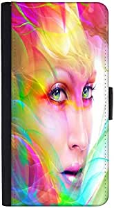Snoogg Colorful Hair Woman 2769 Graphic Snap On Hard Back Leather + Pc Flip C...