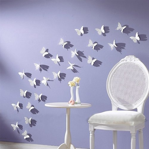 White 24PCS 3D Butterfly Wall Stickers Decor Art Decorations 3 size - 1