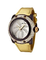 Glam Rock Women's GR80018 Miami Collection Diamond Accented Gold Leather Watch