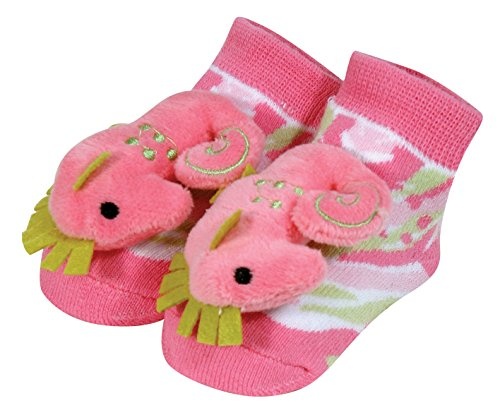 Stephan Baby Go Fish Rattle Socks, Pink Seahorse