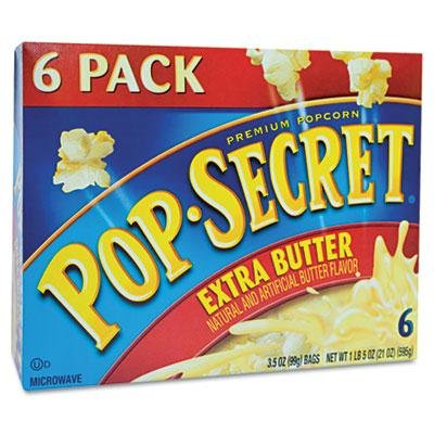 Brand New Pop Secret Microwave Popcorn Extra Butter 3.5Oz Bags 6/Box