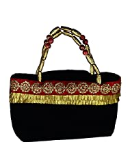 Arisha Kreation Co Women Party Wear Hand Made HandBag (Black)