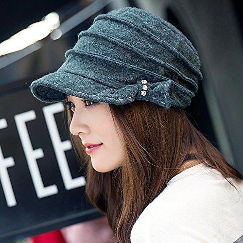FQG*Cap i bambini in autunno e in inverno elegante 8 hat Corea guncha cap video cappuccio sottile Ms. fashion copricapi berretti , grigio scuro
