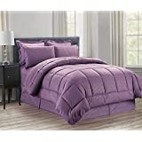 Sweet Home Collection 8 Piece Bed In A Bag With Vine Comforter, Sheet Set, Bed Skirt And Sham Set, Plum, King