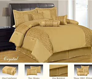 7pc King Size Crystal Gold Comforter Set By Royal Luxury Linen