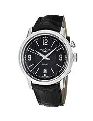 Vulcain 50s President's Men's Black Dial Mechanical Alarm Watch 110151.283L