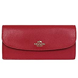 Coach Crossgrain Leather Soft Slim Wallet 52689 Classic Red