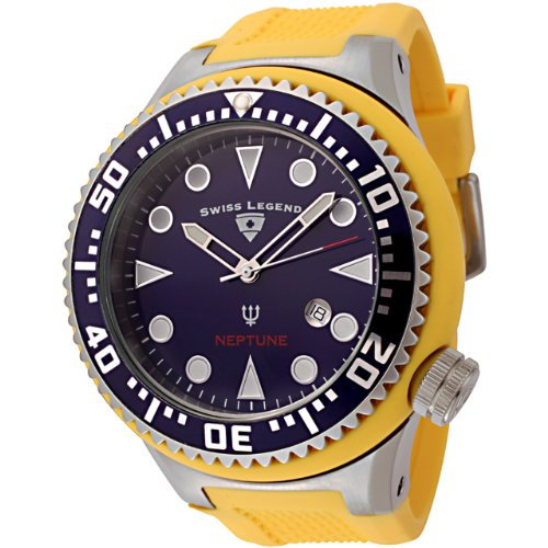 Swiss Legend Men&#8217;s 21818D-03 Neptune Collection Stainless Steel Yellow Rubber Watch