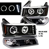 04-10 Chevy Colorado / GMC Canyon Dual halo LED Projector Headlights with Bumper Lights (Black)
