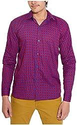 Oshano Men's Casual Shirt (OSH_025_m, Blue and Red, m)