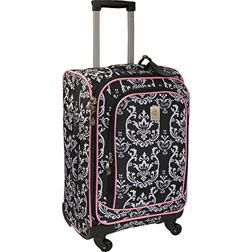 jenni-chan-damask-360-quattro-21-inch-upright-spinner-carry-on-luggage-black-pink-one-size