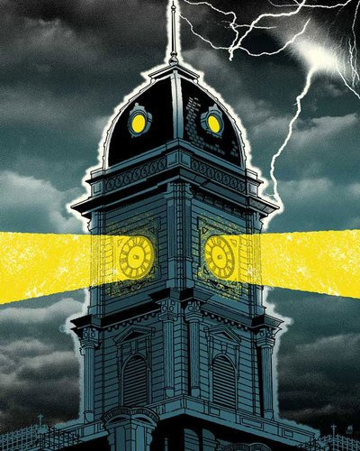 Wheatpaste Art Collective Clock Tower Stretched Canvas Wall Art by Methane Studios, 24-Inch by 30-Inch