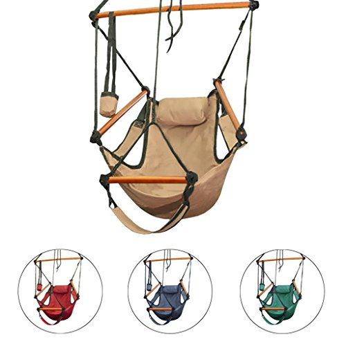 Unbeatabledepot Deluxe Sky Air Chair Swing Hanging Hammock Chair W/ Pillow & Drink Holder front-1038471