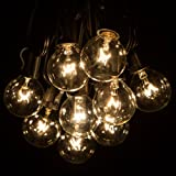 25 Foot Globe Patio String Lights - Set of 25 G40 Clear Bulbs with Black Cord