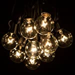 50 Foot G40 Globe Patio String Lights with Clear Bulbs for Outdoor String Lighting (Black Wire)