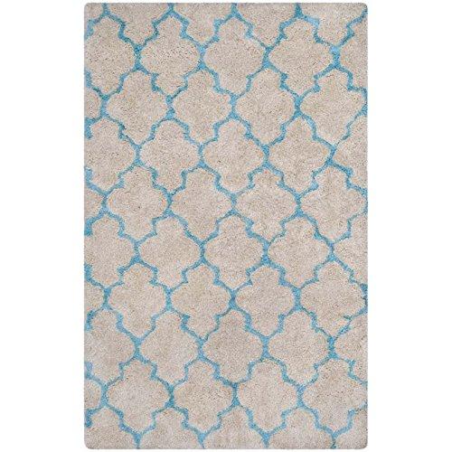 Safavieh Barcelona Shag Collection BSG319K Handmade Cream and Blue Polyester Area Rug, 8 feet by 10 feet (8' x 10')