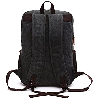 Kenox Mens Large Vintage Canvas Backpack School Laptop Bag Hiking Travel Rucksack