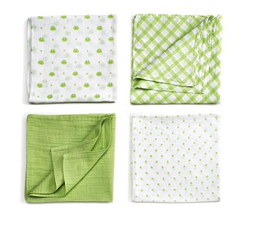 GUND Babygund Dottersworth Collection Swaddle Blankets 40'' By 40'', Dottersworth, 4-pack