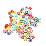 Generic Random Color 100Pcs Flower Pattern 10mm DIY Buttons Sewing Clothes Button