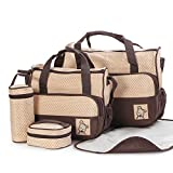 Moolecole 7 in 1 Mommy Tote Bag Travel Bag Diaper Bag Set (Coffee)