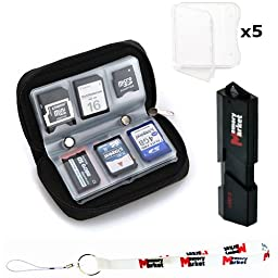 MemoryMarket Memory Card Carrying Case - Black / Wallet / Holder / Organizer / Bag - Storage for SD SDHC CF xD Camera Memory Cards with (5) Clear SD Jewel Cases, Lanyard & USB 3.0 Memory Card Reader