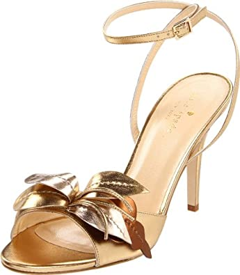 Kate Spade New York Women's Cecelia Ankle-Strap Sandal,Old Gold Metallic Nappa,8.5 M US
