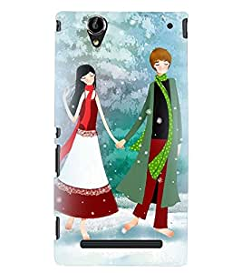 Printvisa Romantic Couple In Snowfall Back Case Cover for Sony Xperia T2 Ultra::Sony Xperia T2 Ultra Dual