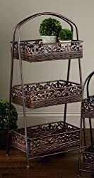 "3-Tier Square 38""H Rattan Basket Display Stand"