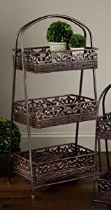 """3-Tier Square 38""""H Rattan Basket Display Stand"""
