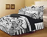Bellagio Pure Collection Cotton 1 Double Bed Sheet & 2 Pillow Covers (White and Black)