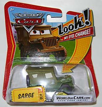 Disney/Pixar Cars, The World of Cars, Lenticular Eyes Series 1, Sarge Die-Cast Vehicle #30, 1:55 Scale