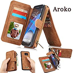Samsung Galaxy S7 edge Dermis Wallet case,Aroko Handmade Genuine Cowhide Leather Wallet Cover Case - Large Capacity Leather Wallet Type Case with zipper wallet Case for Samsung Galaxy S7 edge