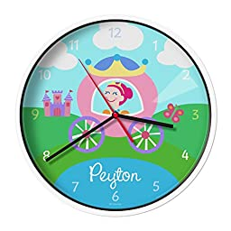 Olive Kids Personalized Princess (Light Skin) Clock with White Case